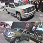 (TOP) 2014 North American Truck of the Year, the re-designed Chevrolet Silverado.   (BOTTOM): the 2015 GMC Canyon gets GM back into the mid-size pick-up game.